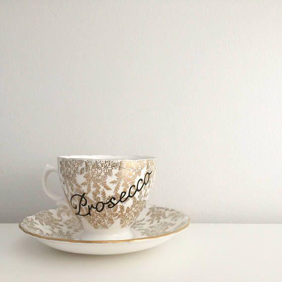 Prosecco Gold Floral Vintage Teacup and Saucer Personalised mug Personalised teacup custom mug custom teacup champagne teacup