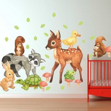 Our Illustrated Forest Wall Decal Kit is perfect for any animal lover. This kit includes a Deer, a Raccoon, 2 Squirrels, a Rabbit, a tortoise, frog, a Yellow Duck, 6 Mushrooms, and 33 Green Leaves
