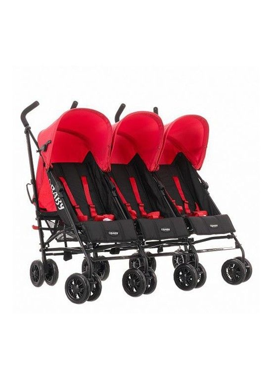 OBaby Mercury Triple Stroller-Black/Red - http://www.kiddies-kingdom.com/tripple-pushchairs/13948-obaby-mercury-triple-stroller-black-red-new-2014-5055267604171.html