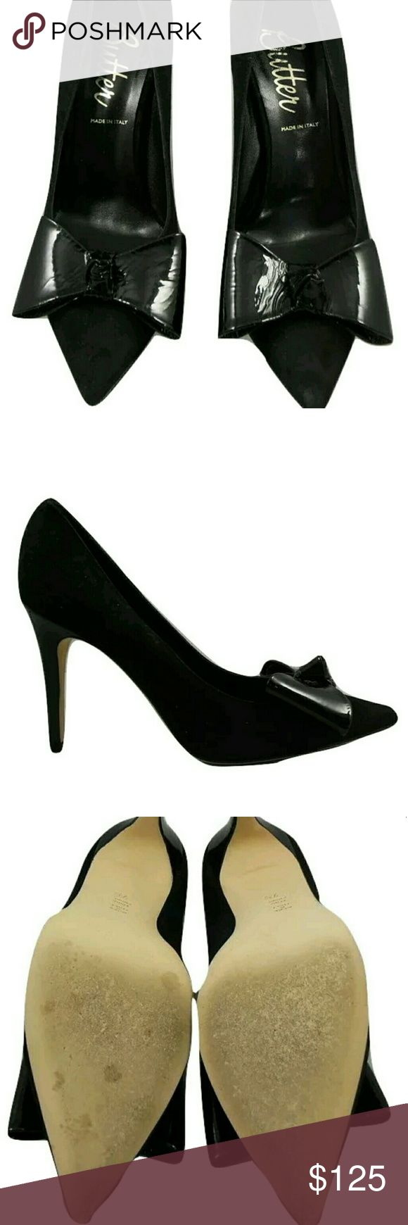 """Butter Black Suede Delphine Pumps New in original box. Patent leather bow detail at pointed-toe Patent leather covered heel Leather insole and leather sole Measurements: Heel height 3"""" Material: Suede, patent leather Brand: Butter Origin: Italy Butter Shoes Shoes Heels"""