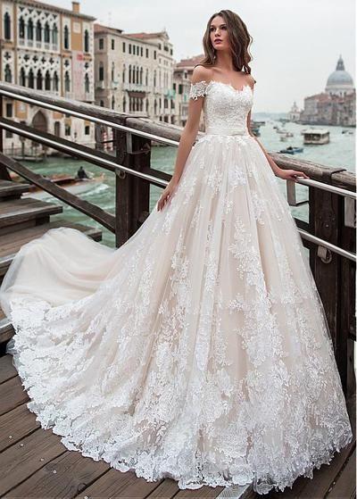 2019 off the shoulder lace wedding dresses appliques bodice A-line tulle wedding dresses