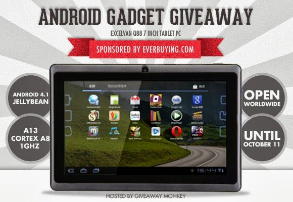 "Be the lucky winner to receive this cool budget-friendly Excelvan Q88 7"" Android Tablet PC at GiveawayMonkey's Android Gadget Worldwide Giveaway. Join here: http://giveawaymonkey.blogspot.com/2013/09/android-gadget-giveaway.html"