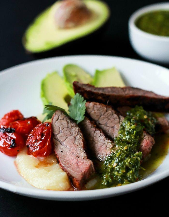 Chili-Rubbed Flank Steak with Chimichurri Sauce.