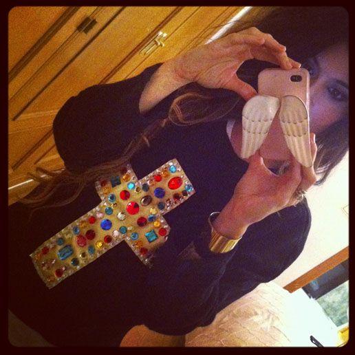 madame de rosa instagram pic. bejeweled cross sweater.