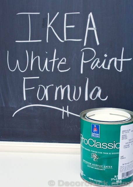IKEA White Paint Formula - Decorchick! In case I need to touch up any of our IKEA pieces or match other furniture to it!
