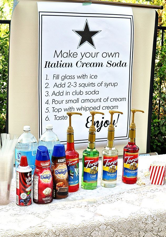 Make your own Italian Cream Soda Bar and throw an end of summer out door movie night! Tips and ideas on http://www.thirtyhandmadedays.com