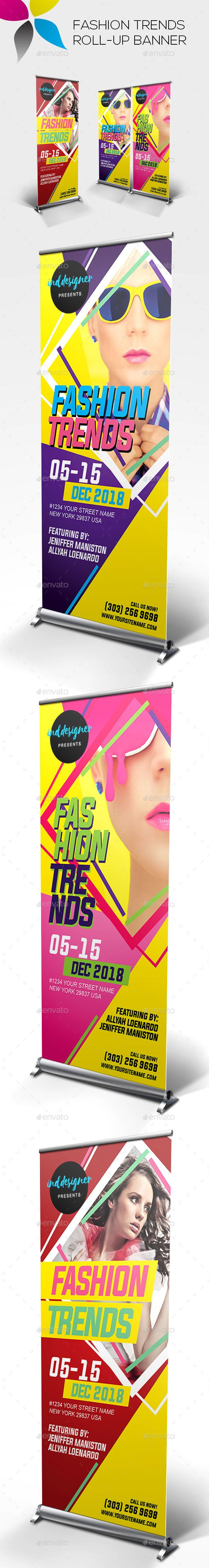 Fashion Trends Roll-up Banner Template PSD