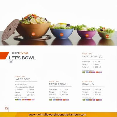 Let's Bowl Twin Tulipware, Small, Medium, Large Bowl