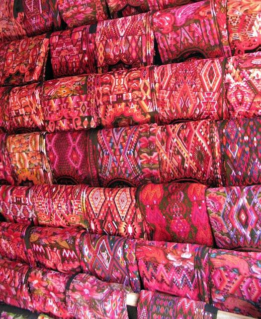 Handmade textiles at Chichicastenango Market, Guatemala.