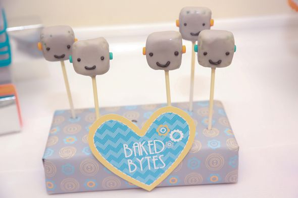 Pottery Barn Inspired Robot Baby Shower.  Semi-simple robot cake pops idea.