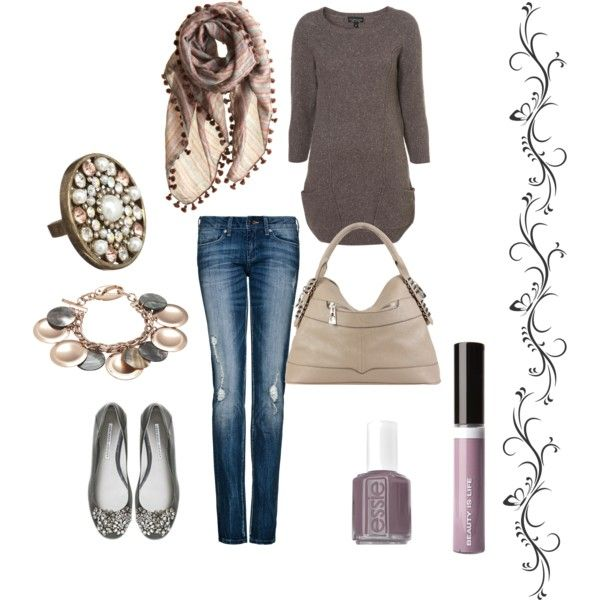 lovey love those shoes and scarfNice Outfit, Sweaters Dresses, Colors Combinations, Taupe Sweaters, Sparkle Flats, Mauve Nails, Nails Polish, Cute Outfit, Mauve Scarf
