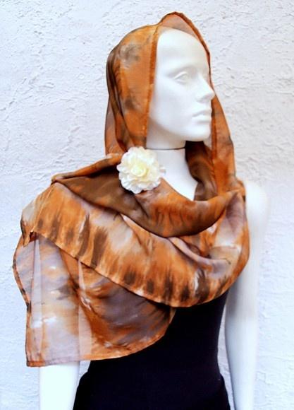 3 em 1: Mini Canga, Lenço para cabeça e Echarpe  em musselina de seda com tingimento tie dye