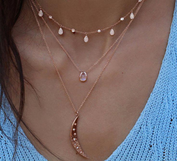 14kt gold and teardrop diamond drip choker necklace – Luna Skye
