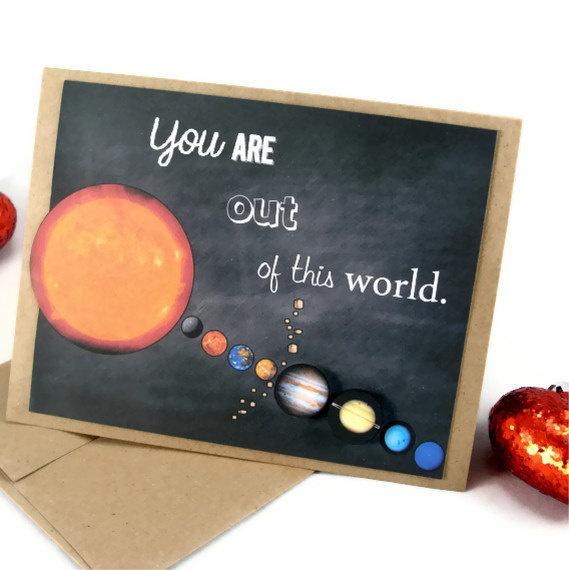 Planet Valentine's Day Science Solar System Card by ShopGibberish, $5.00