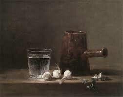 Natura morta con brocca, aglio e bicchiere; Chardin; olio su tela; circa 1740.