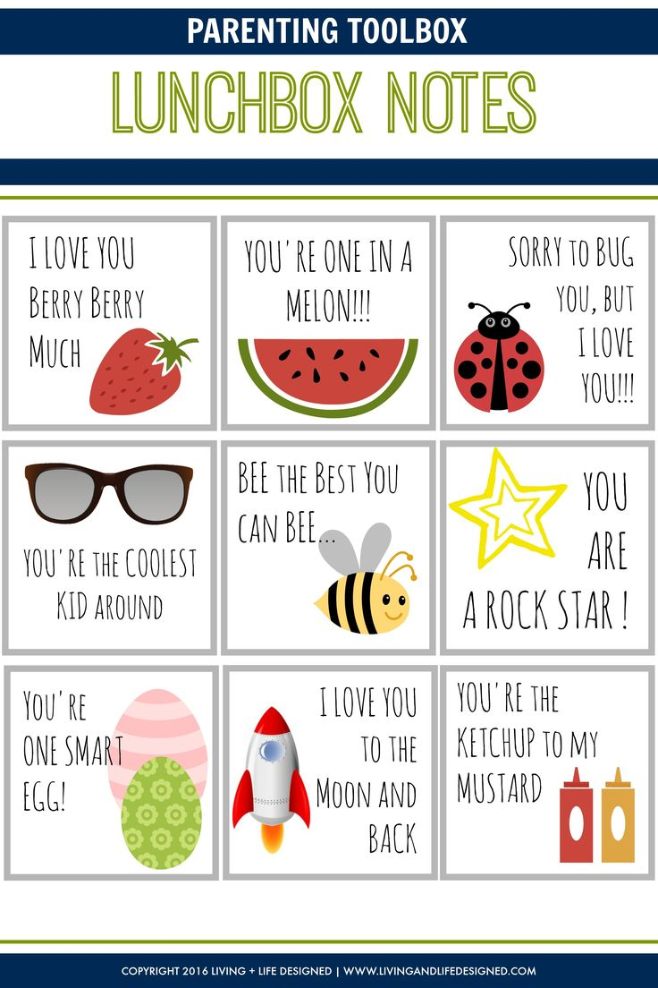 These Lunchbox Notes are super cute. So easy to print, cut out and have to throw into lunches!