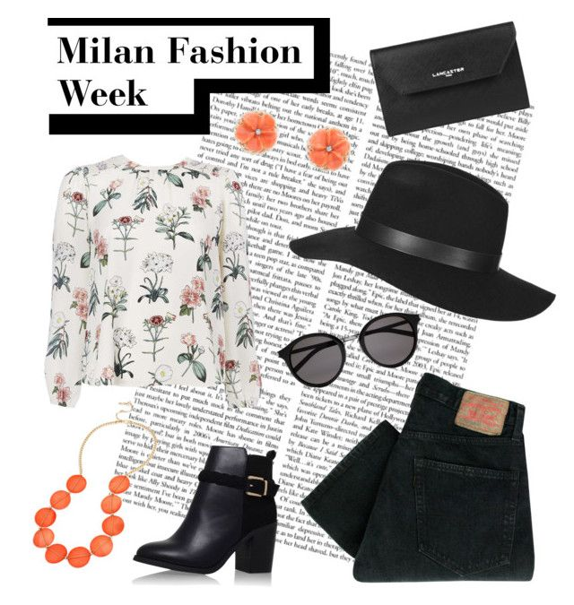Milan Fashion Week by alexfreyberg on Polyvore featuring polyvore, fashion, style, Levi's, Topshop, Lancaster, Kenneth Cole, Yves Saint Laurent, clothing and Packandgo