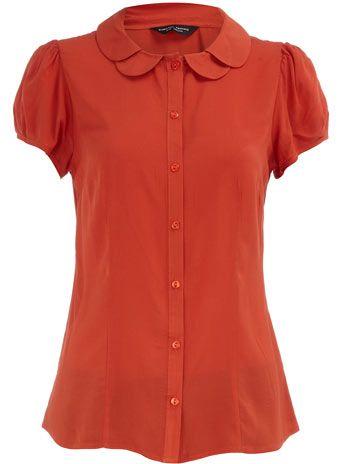 orange scallop collar blouse via Dorothy Perkins - super feminine, LOVE this color