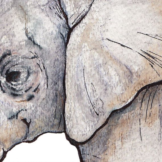 Elephant Watercolor Painting Nursery Animal Art by SimpleShapes