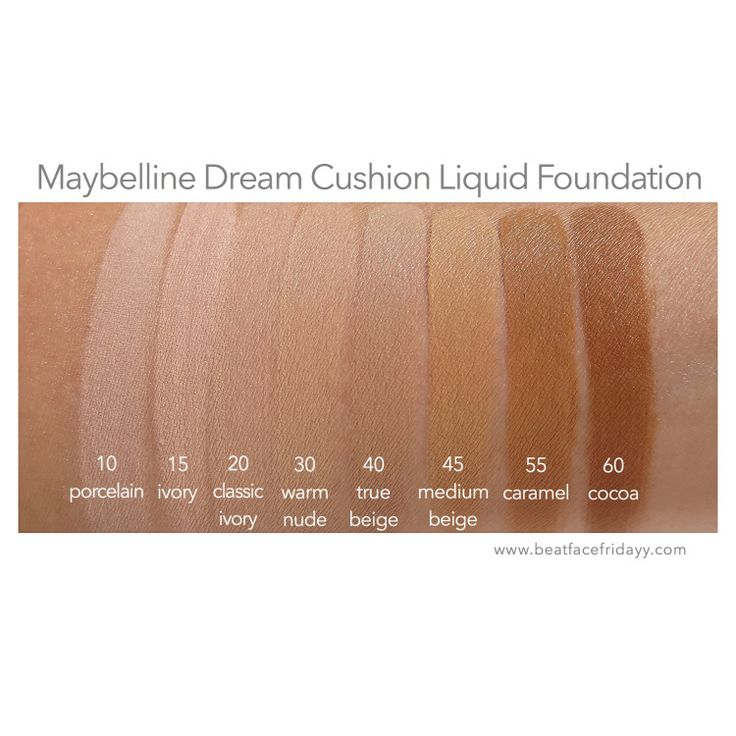 Maybelline Dream Cushion Foundation Porcelain, Ivory, Classic Ivory, Warm Nude, True Beige, Medium Beige, Caramel Swatch + Dream Brightening Creamy Concealer Fair, Light, Light/Medium, Medium, Medium/Deep, Deep Swatch + First Impressions – beatfacefridayy
