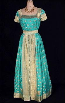 1960s RUTH VARLAN Turquoise Sari Silk Gown with Woven Gold Embroidery (Dupont Estate)