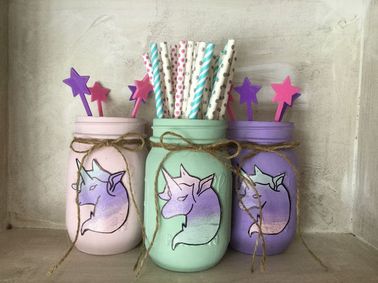 Painted Mason Jars. Unicorns. Party Decor. Unicorn Party. Girls room. Vases. Mason Jars. Birthday by WineCountryAccents on Etsy