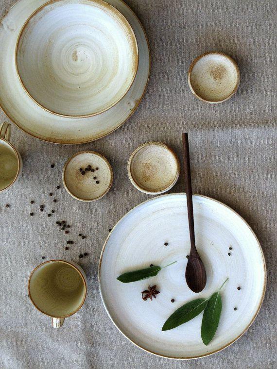 Ceramic dinnerware set White dinnerware dinner set by FreshPottery