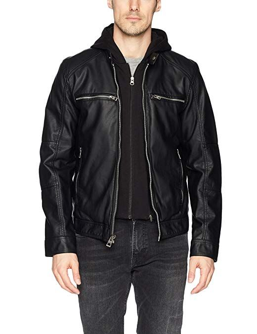 Guess Men S Faux Leather Hooded Moto Jacket Black Xl Review
