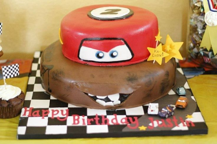 """Two tiered """"Lightning McQueen/Mater"""" Birthday Cake with Fondant"""