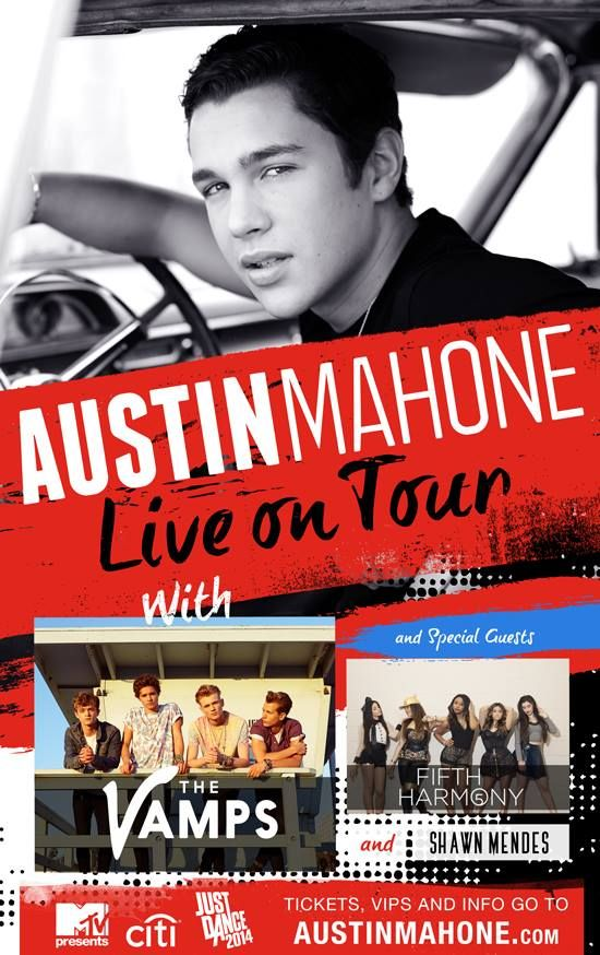 NEWS: The pop artist, Austin Mahone, has announced a North American tour with The Vamps (on select dates), Fifth Harmony, Shawn Mendes and Alex Angelo (on select dates). You can check out the dates and details at http://digtb.us/AMTOUR