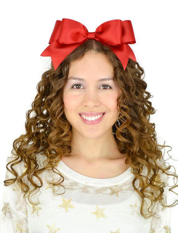 Snow White Bow Red Satin Ribbon Hair Bow Headband Snow