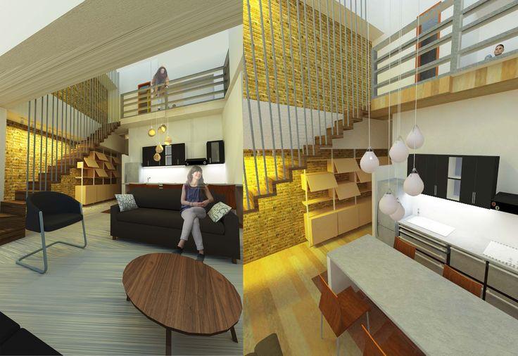 Perspectivas interiores propuesta residencial tipo Duplex.