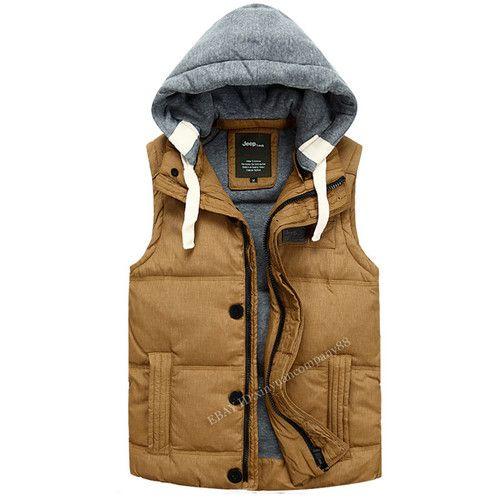 Men's Hot Winter Outdoor Duck Down Hooded Warm Jacket Vest Zipper Waistcoat J02 | eBay