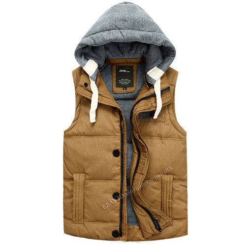 Men's Hot Winter Outdoor Duck Down Hooded Warm Jacket Vest Zipper Waistcoat J02 | eBay