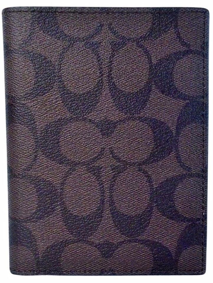 New Coach Signature Passport Case color Mahogany Brown Wallet PVC NWT MSRP $125 #Coach