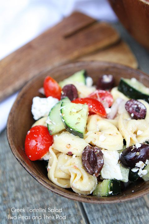 Greek Tortellini Salad. 1 (20 ounce) package refrigerated cheese tortellini 1 1/2 cups grape tomatoes 1 large cucumber 1/2 red onion 3/4 cup crumbled feta cheese For the Dressing: 1/4 cup extra virgin olive oil 3 tablespoons red wine vinegar 1 clove garlic, minced 1/2 teaspoon dried oregano