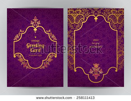 Vintage ornate cards in oriental style. Golden Eastern floral decor. Template…