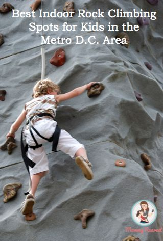 """Earth Treks in Columbia, Maryland offers a """"Family Introduction to Climbing"""" course on Saturday and Sunday afternoons. Both kids and adults learn and climb together, with kids climbing with an instructor while adults learn the necessary skills to belay."""