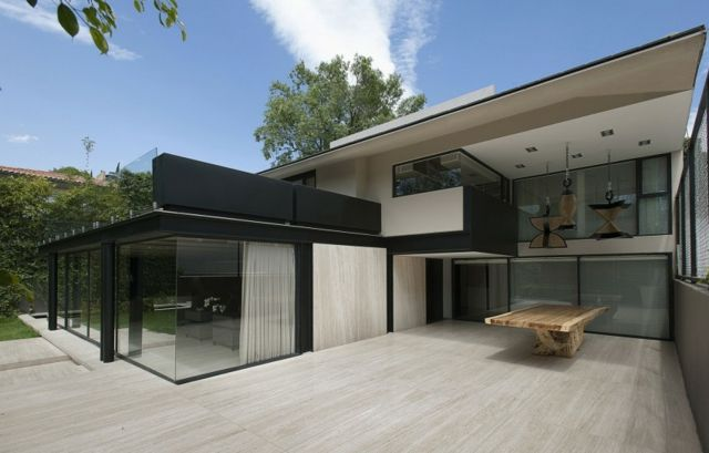 Einfamilienhaus moderne Glas Fassade Beton Vorhänge