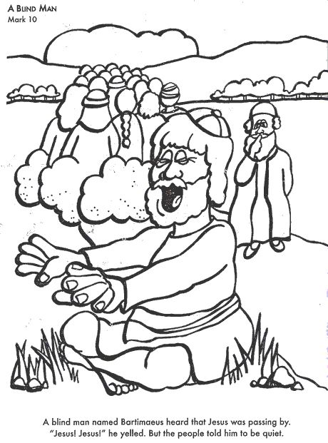 A Blind Man Bible Coloring Page For Kids To Learn Stories
