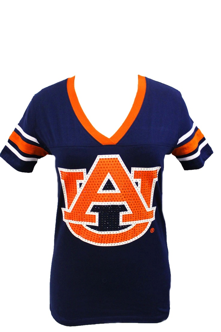 Auburn Glimmer Tee  Blue Auburn Tee lined with Orange complete with studded Auburn AU logo. Great for a afternoon game tailgate.   $24.99
