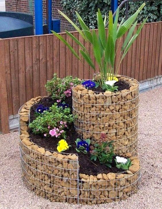 aranjamente de gradina cu pietre si flori Stone and flower garden design ideas 13
