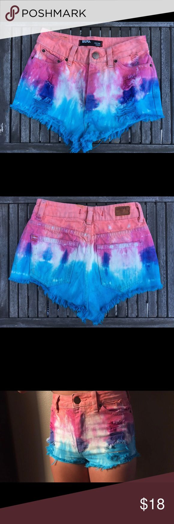 Urban Outfitters High Waisted Dip-Dye Shorts! BDG Urban Outfitters Jean shorts! Super cute, high waisted, and a little cheeky(; 1&2 photo are more accurate in color! Urban Outfitters Shorts Jean Shorts