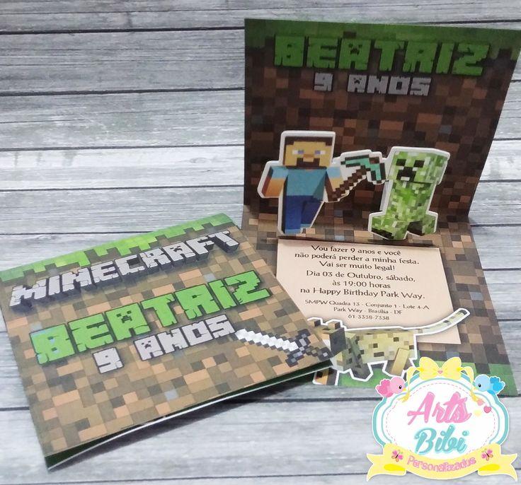 Convite Minecraft PopUp 3D                                                                                                                                                                                 Mais
