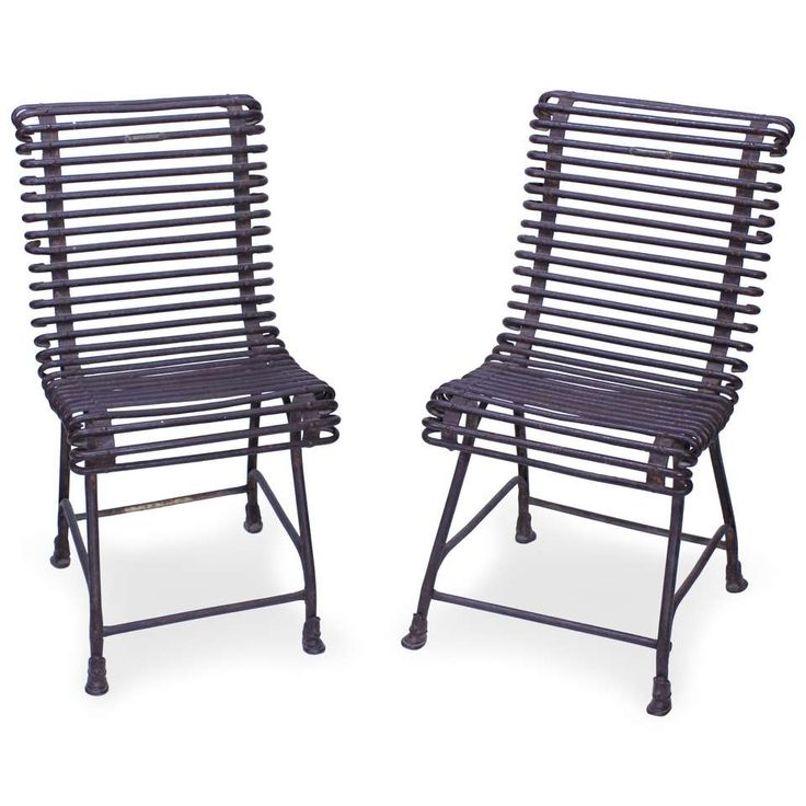 Pair of Forged Iron Labelled Societe Anonyme Folk Chairs 1