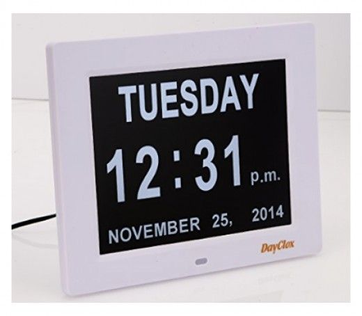 To see this clock with day, date and time (perfect for a senior citizen), click the link on the left.
