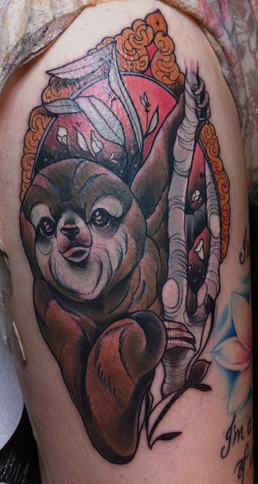 Three Toed Sloth Tattoo by Tiny Miss Becca at Jayne Doe