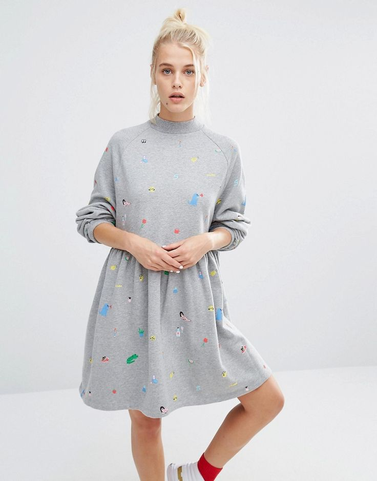 Image 1 of Lazy Oaf Oversized Sweat Dress With Random Print                                                                                                                                                                                 More