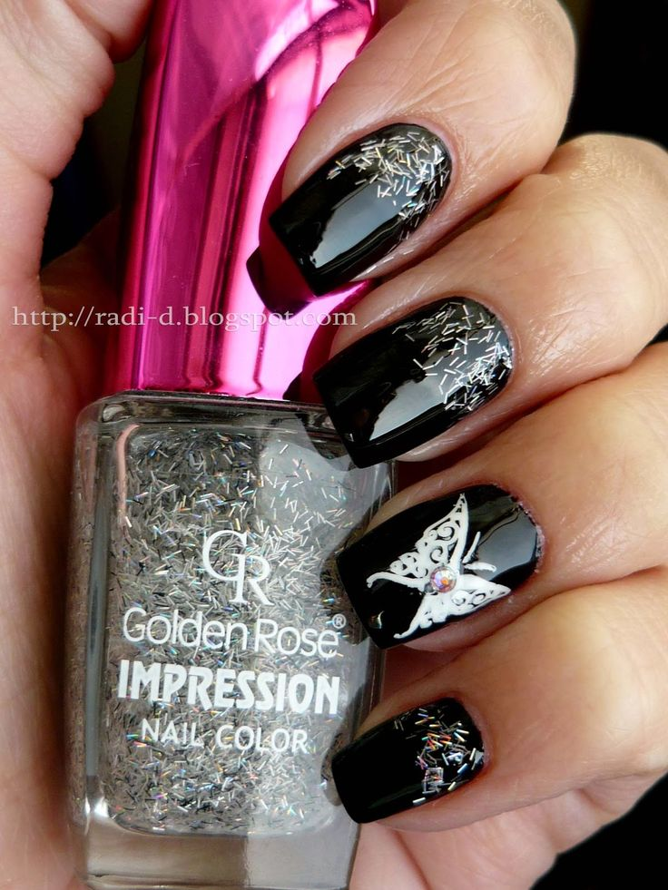 42 best nail art images on pinterest nail art nail art tips and black with silver butterfly its all about nails prinsesfo Gallery