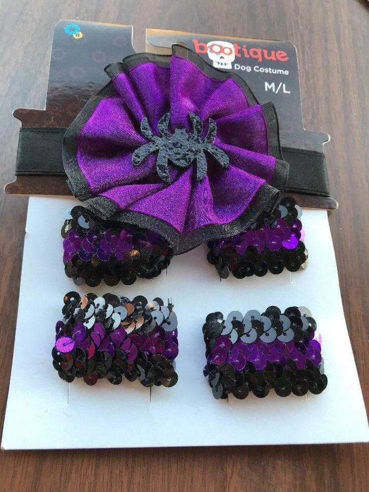 Pet Clothes Apparel Outfit Dog Costume Necklace Arm Bands Size M/L Purple Black    eBay